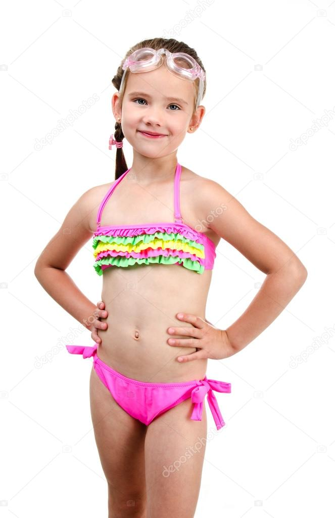 98ce4b15e18 Cute smiling little girl in swimsuit and glasses isolated on a white —  Photo by svetamart