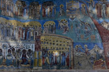 detail of Judgment Day fresco on western wall Voronet monastery, Suceava county, Moldova, Romania