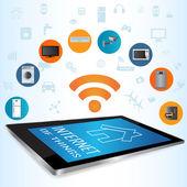 Fotografie Konzept der Internet der Dinge (Iot) und Tablet-Pc-Anwendungen