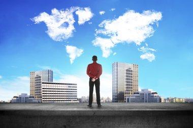 Man Looking Cloud Shape World
