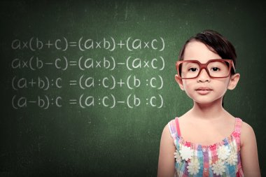 Little Girl With Math Formulas