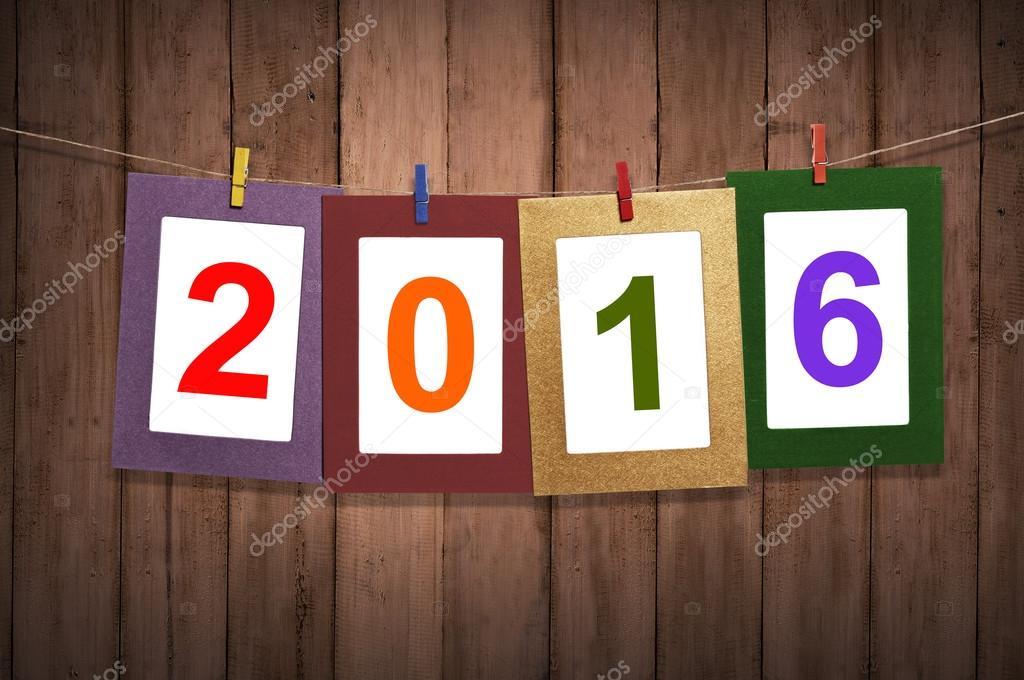 Neues Jahr 2016 in Bilderrahmen Aufhängen auf der Wäscheleine ...
