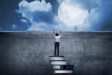 Asian business man climbing books