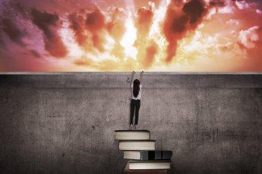 Asian business woman climbing books