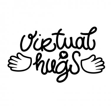 Virtual hugs line icon, vector modern calligraphy with open arms. Black and white modern clipart image isolated. Hugging phrase, social media connection. Virus-free virtual hugs from social distance. icon