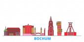 Deutschland, Bochumer Stadtbild, flacher Vektor. Reise-Wahrzeichen, oultine Illustration, Linie Welt-Ikonen