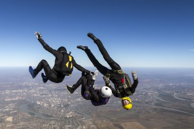 Group of skydivers in free fall.