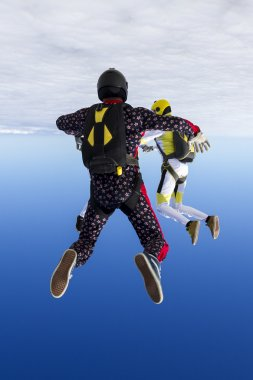 girl and guy skydivers perform pieces