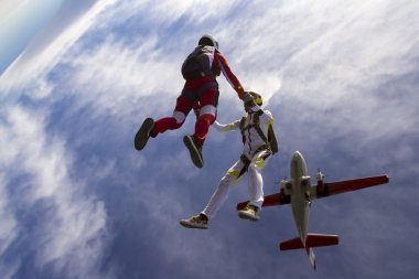 Two girls in free fall