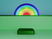 Scene with podium for mock up presentation in minimalism style with copy space, 3d render abstract background design