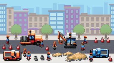 road works - pixel art scene video game style vector layer