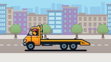 Empty Tow truck, city background pixel art game style layer illustration