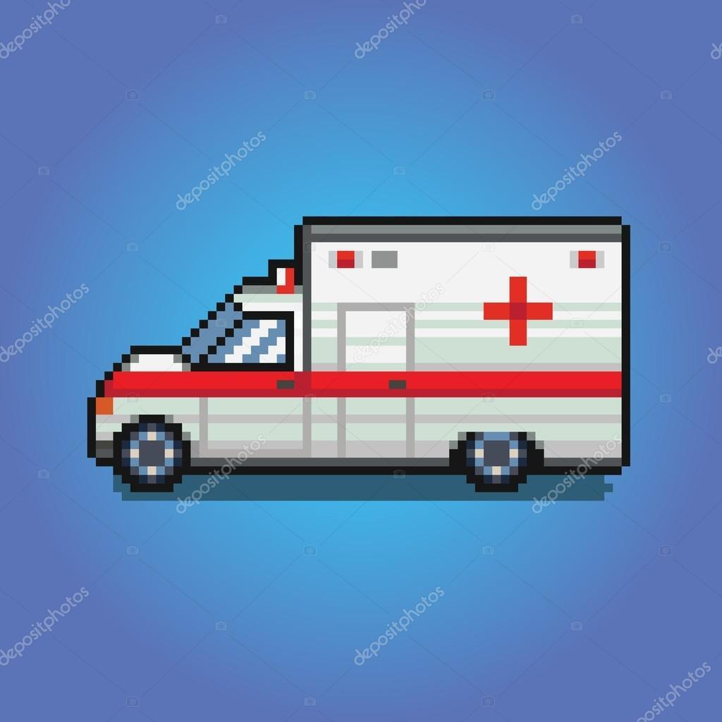 Voiture Ambulance De Pixel Art Illustration De Style De Jeu
