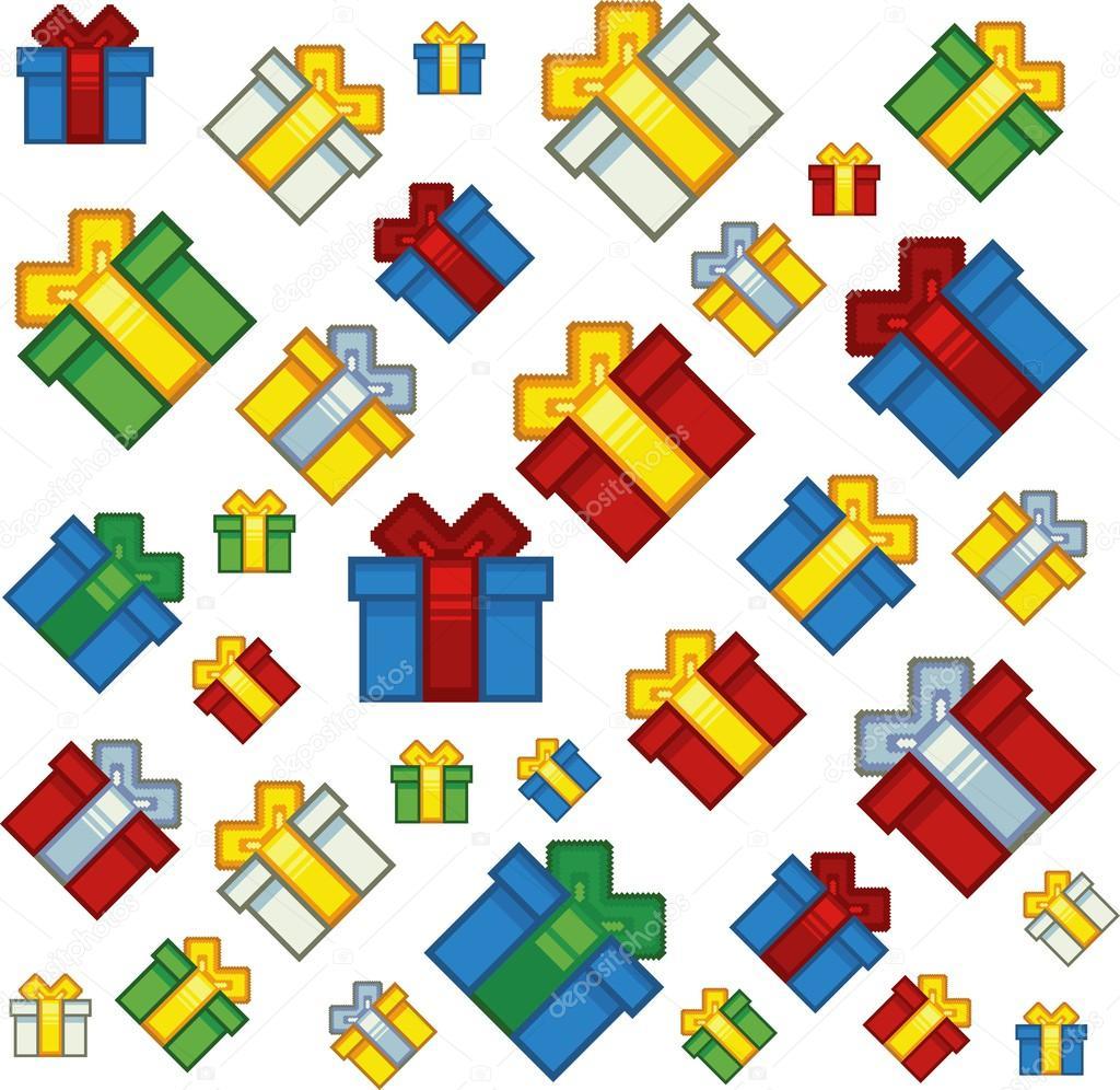 Pixel Art Noel Cadeau.Pixel Art Style Noël Cadeaux Fond Image Vectorielle