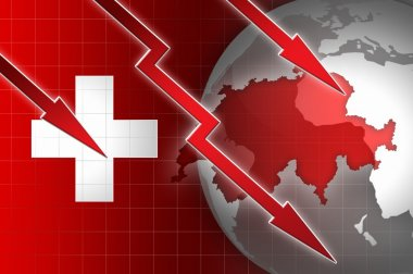 swiss economy currency decline illustration with red down arrow