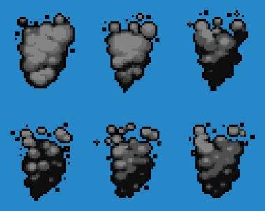 Pixel Art Video Game Smoke Animation Vector Frames