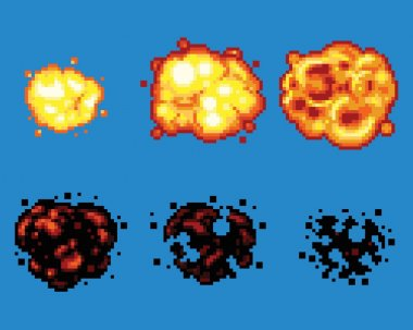 Pixel Art Video Game Explosion Animation Vector Frames Isolated stock vector