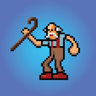 old man with stick in hand pixel art style illustration vector