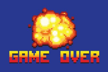 explosion game over message pixel art style retro illustration