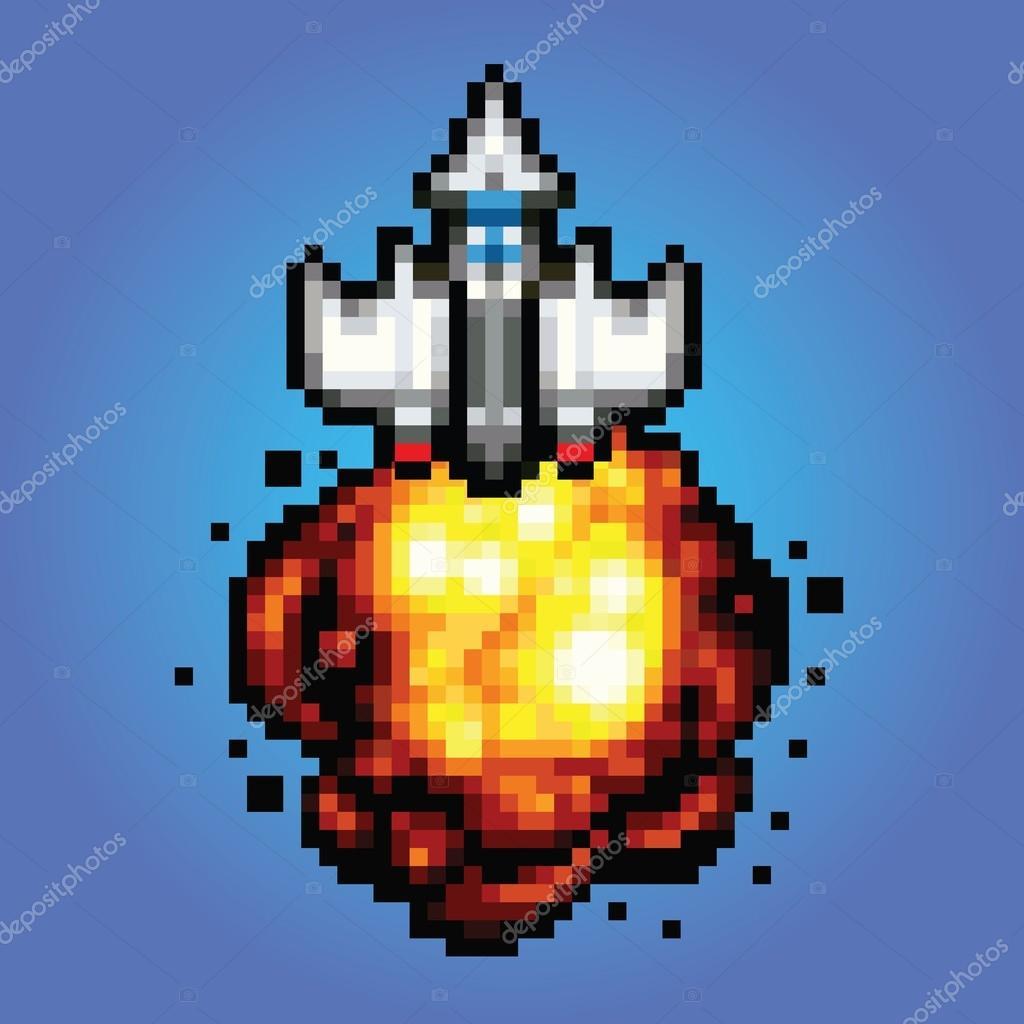 Comic Space Rocket Ship - Pixel Art