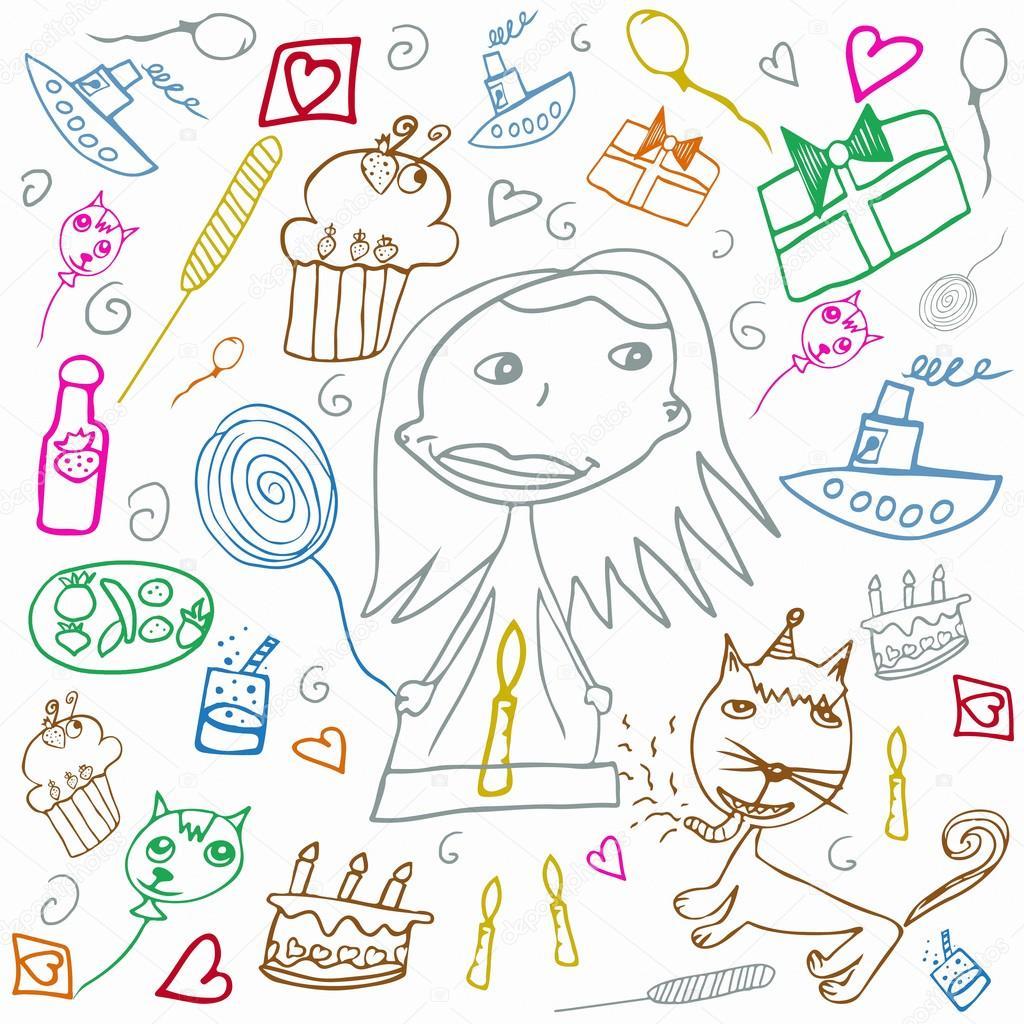 Gelukkige Verjaardag Kleurrijke Children S Tekeningen Illustratie