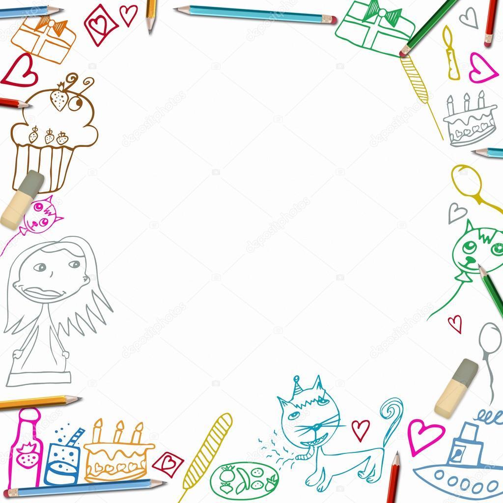 alles Gute zum Geburtstag bunte Rahmen Kinder Zeichnungen auf weißem ...