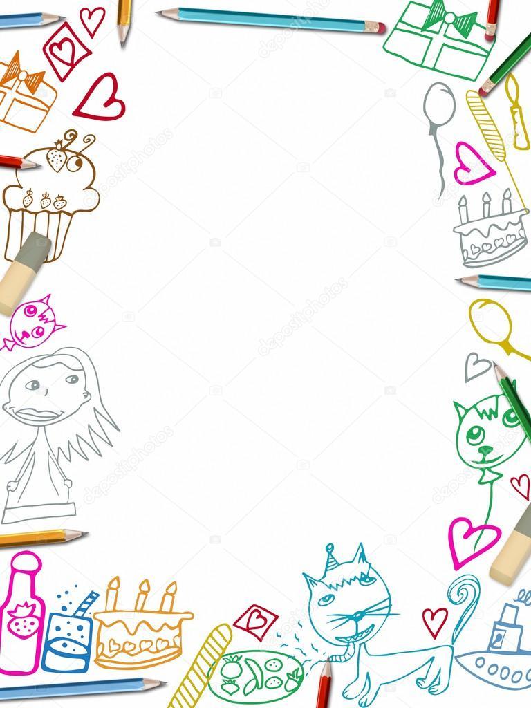 Ilustración de dibujos de niños feliz cumpleaños marco vertical ...