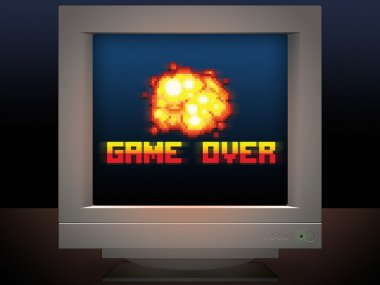 Game over pixel art message monitor screen display game style