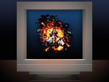 space ship on fire display on monitor screen game style