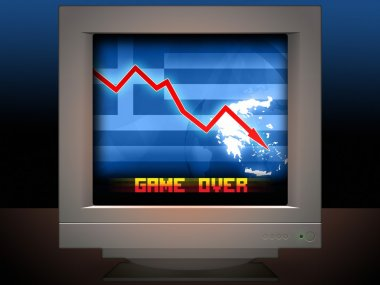 Greece Crisis Concept Game Over Illustration