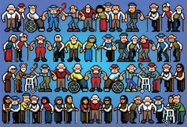 Set of pixel art elderly senior people crowd illustration