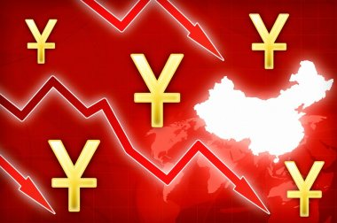 Chinese yuan crisis in China - concept news background