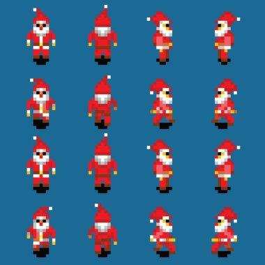 Santa Claus walk animation, four directions, retro video game pixel style
