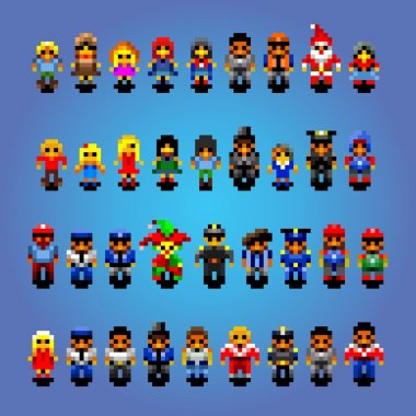 set of small pixel art people avatars