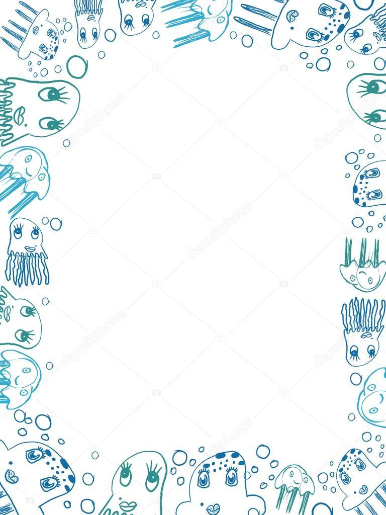 marco vertical de dibujos de Medusa azul de niños — Fotos de Stock ...