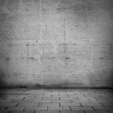 brick wall texture background black and white background with vignette