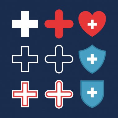 Set of plus or medical cross icons, heart with cross, shields with cross. Flat pharmacy design. Medical, healthcare icons, isolated on dark blue background. Vector color illustration. icon