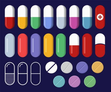 Set of pills and tablets. Capsules of different colors. Medicine pills icons. Pharmacy and drugs symbols. Tablets in flat style, isolated on dark background. Vector color illustration. icon