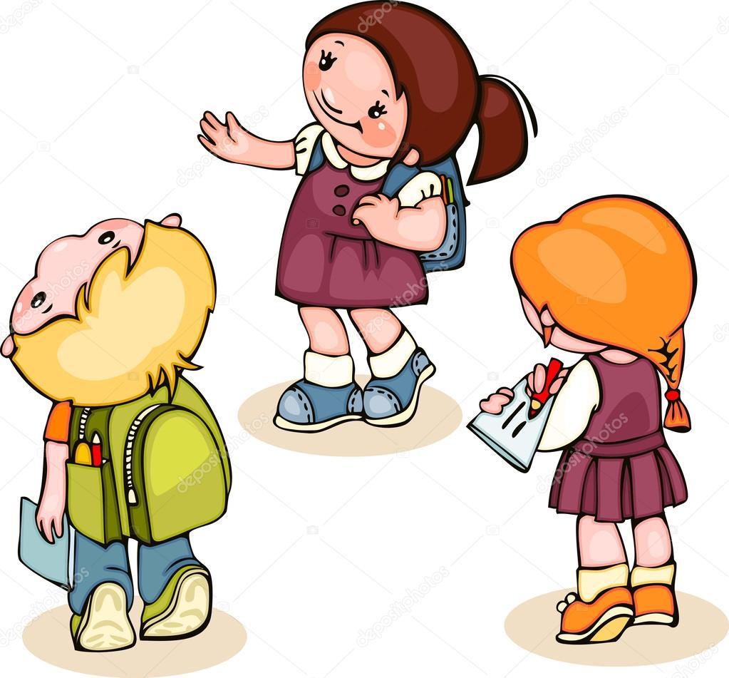 conjunto de escuela para niños — Vector de stock © Usikova #52398789