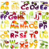 Alphabet with  fruits