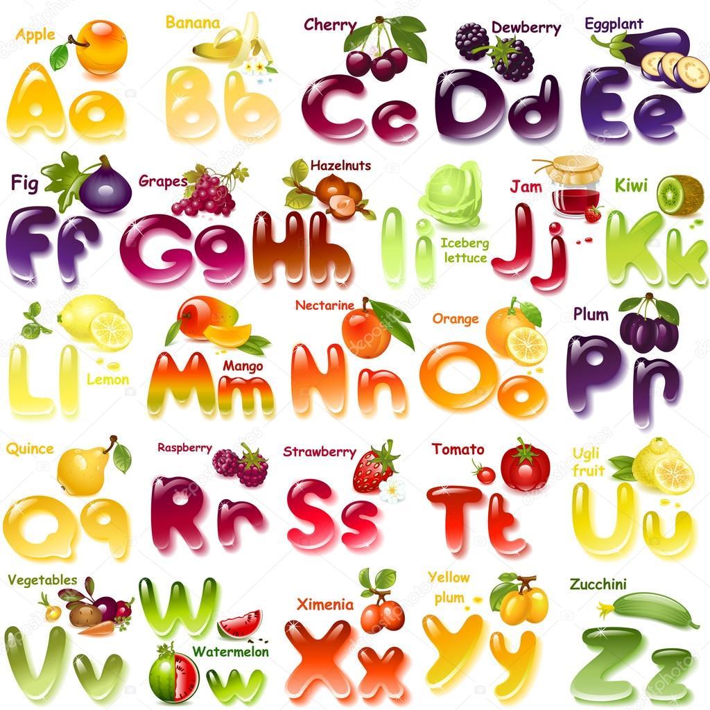 Alphabet with  fruits