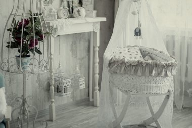 Interior room with a cot in retro style