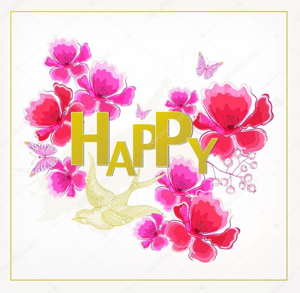 Watercolor Flowers Happy Birthday Card Stock Vector Lyudo 103043228