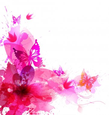 Background with watercolor flowers and butterflies