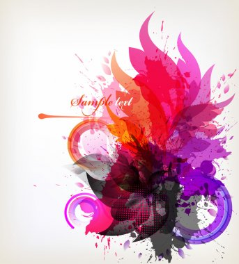 Watercolor background with flowers and blots.