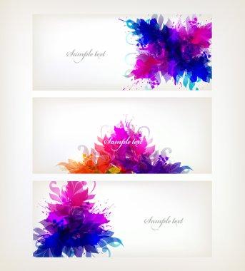Set of fantasy flowers element.