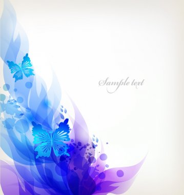 Background with colorful flowers and butterflies