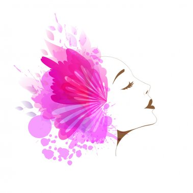 woman face with colorful flower and butterflies