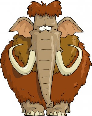 Shaggy Mammoth on a white background