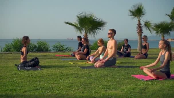 Gruppe von Menschen, die Yoga im Gras am Meer in Zeitlupe praktizieren